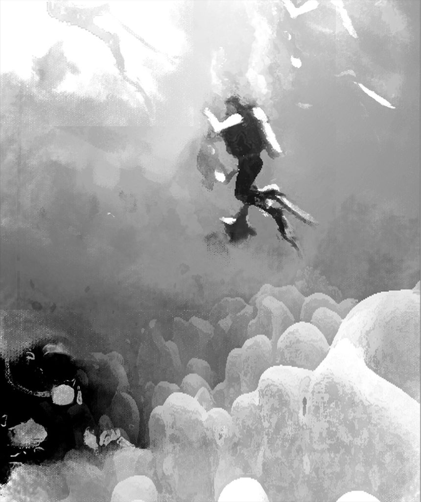 Sea 7 design, diving, drawing 06, diver and reef