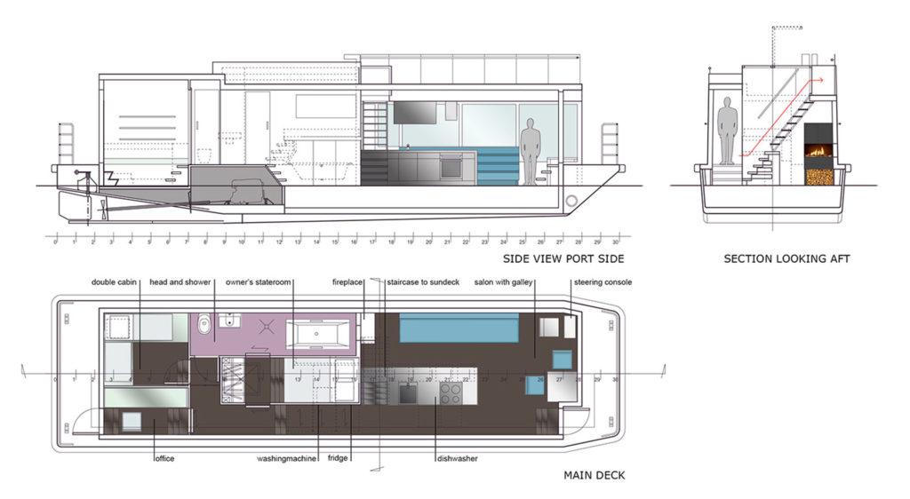 sea 7 design, houseboat, layout