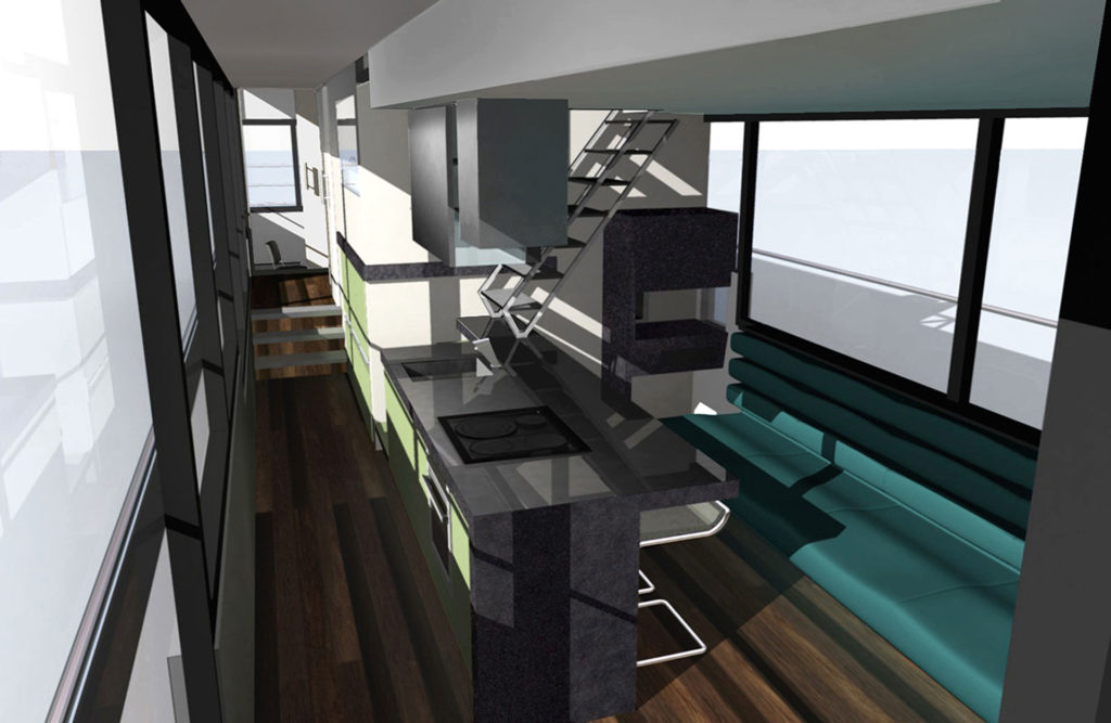 sea 7 design, houseboat, mess interior