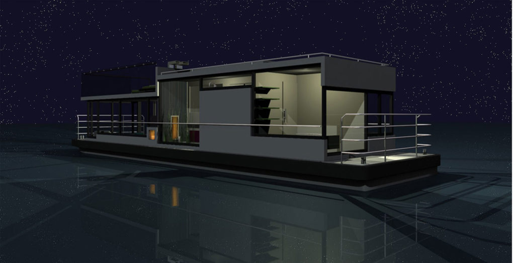 sea 7 design, houseboat, silhouette in the night