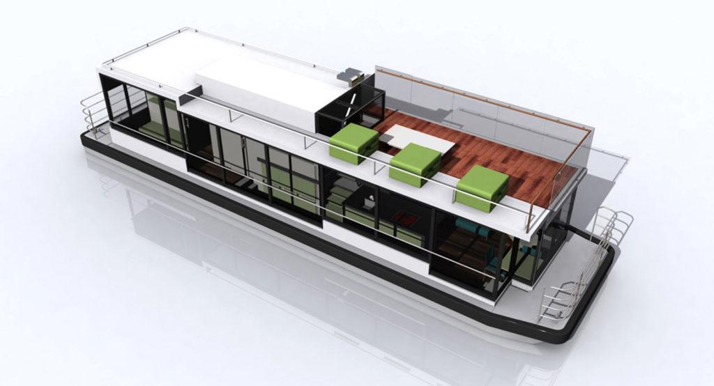 sea 7 design, houseboat, silhouette axonometry 02