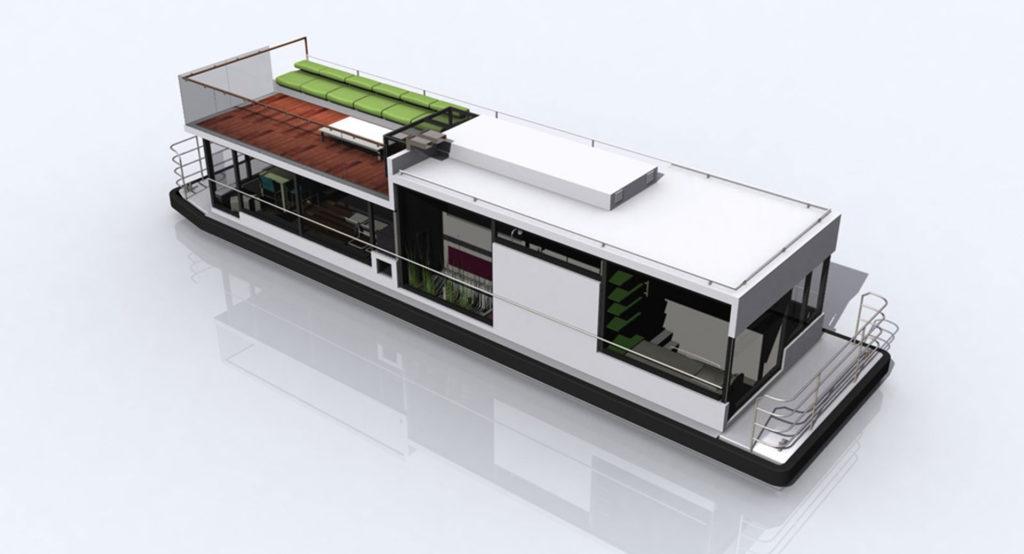 sea 7 design, houseboat, silhouette axonometry 03