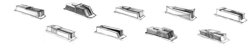 sea 7 design, houseboat, sketches of the silhouette
