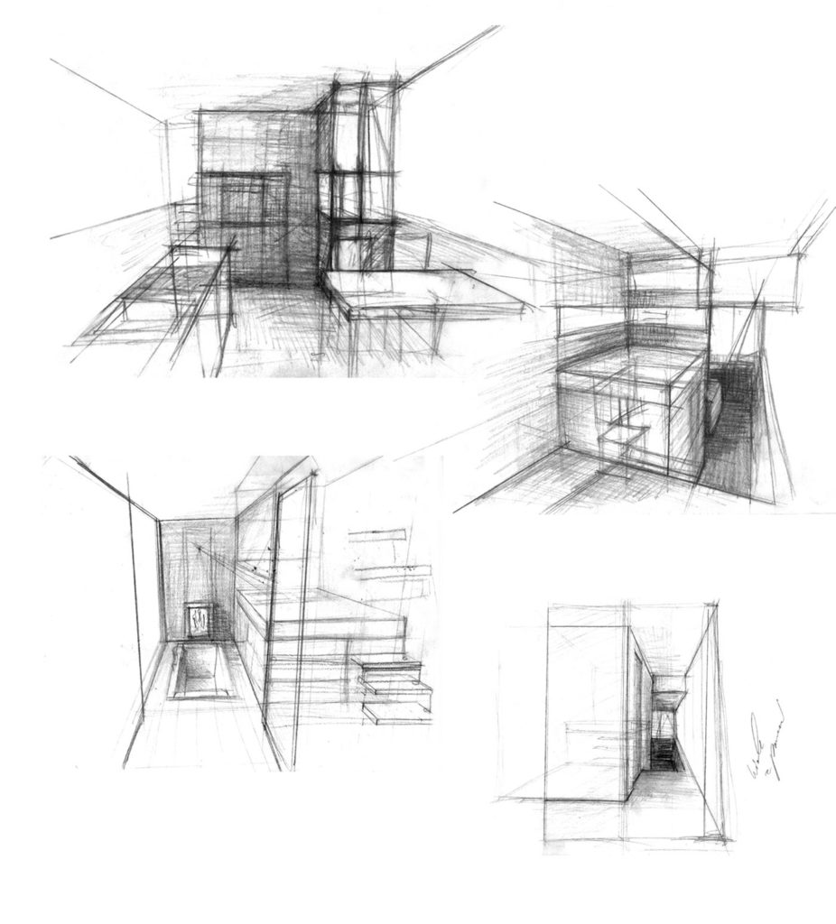 sea 7 design, houseboat, sketches of the interior