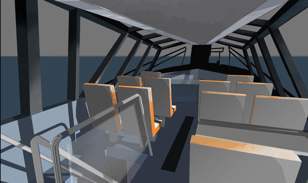 sea 7 design, port pilot vessel, interior, passenger compartment