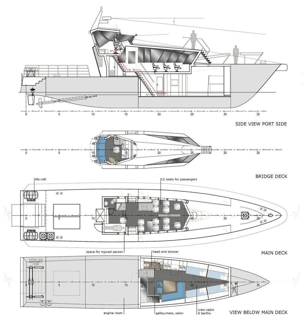 sea 7 design, port pilot vessel, layout