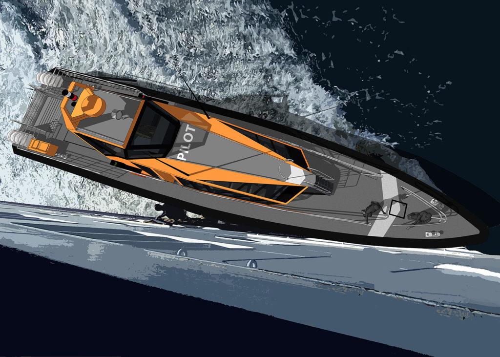 sea 7 design, pilotówka, widok z góry, statek przy burcie