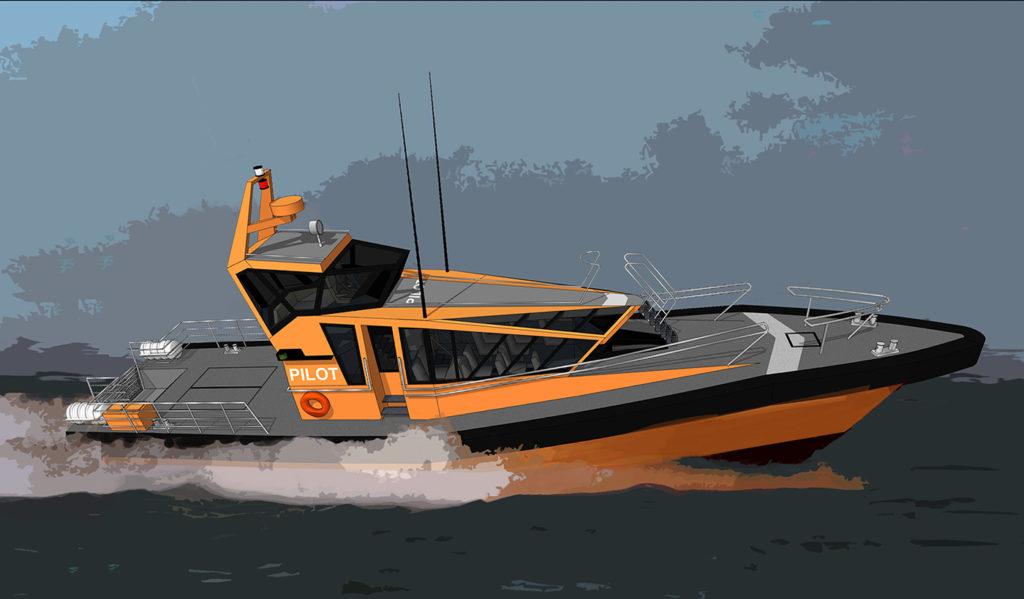 sea 7 design, port pilot vessel, silhouette, side view