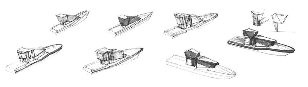 sea 7 design, port pilot vessel, sketches of the silhouette