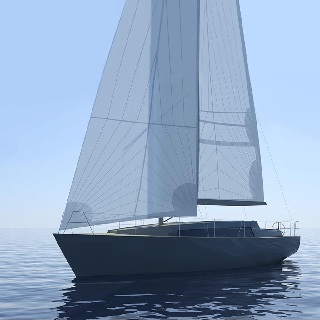 sea 7 design, morski jacht żaglowy, widok z żaglami