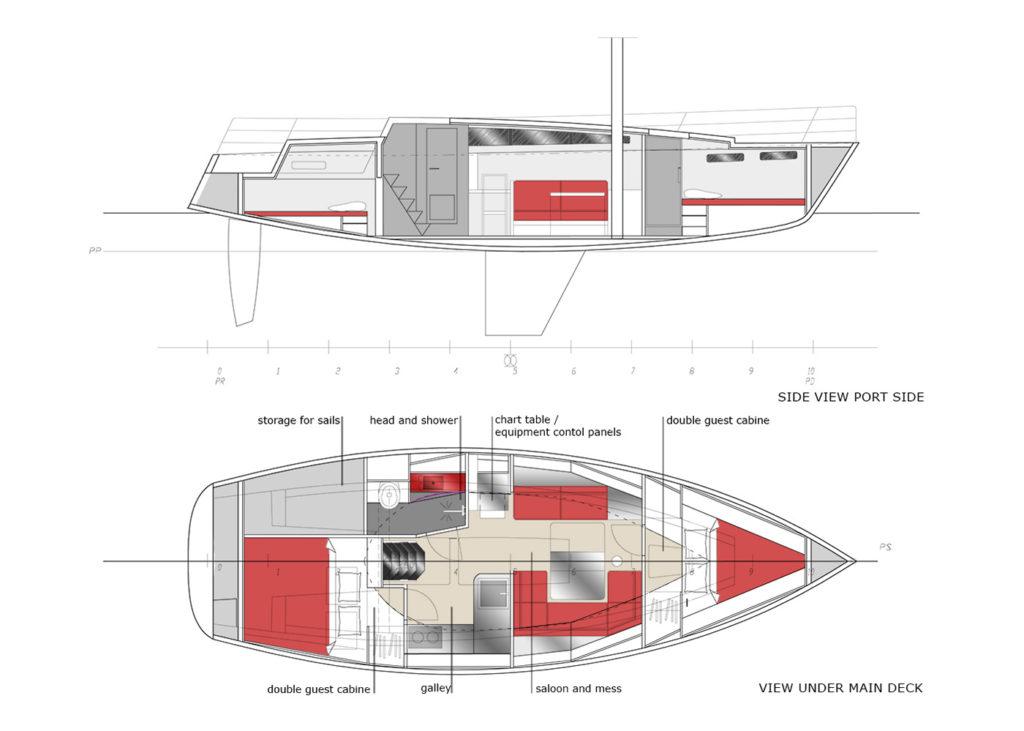 sea 7 design, sea sailing yacht, layout