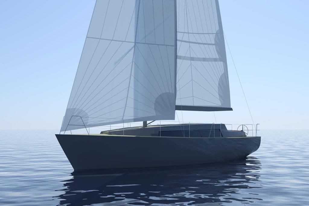 sea 7 design, sea sailing yacht, silhouette with sails