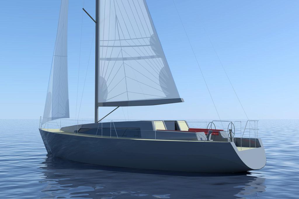 sea 7 design, sea sailing yacht, silhouette, side view
