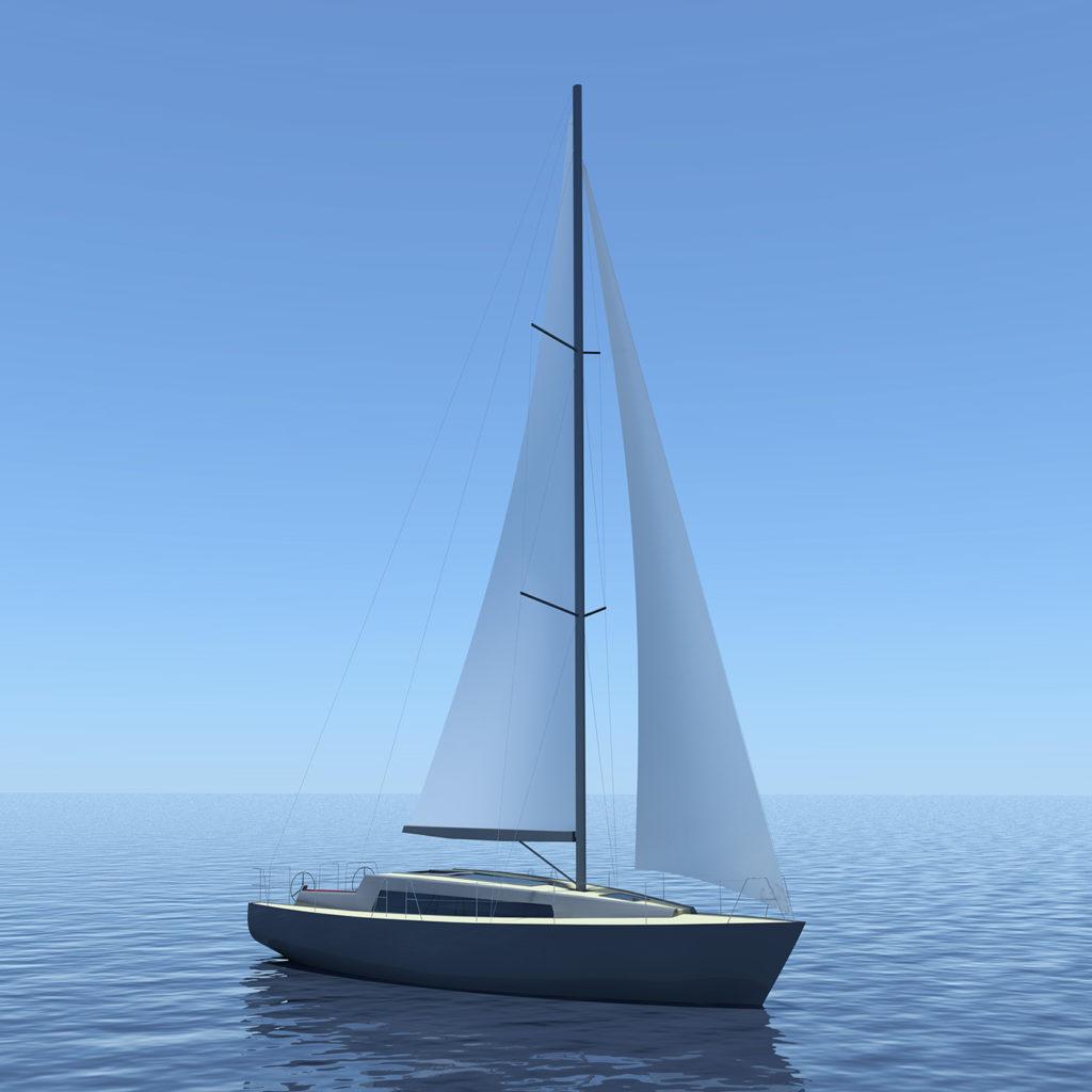 sea 7 design, sea sailing yacht, silhouette