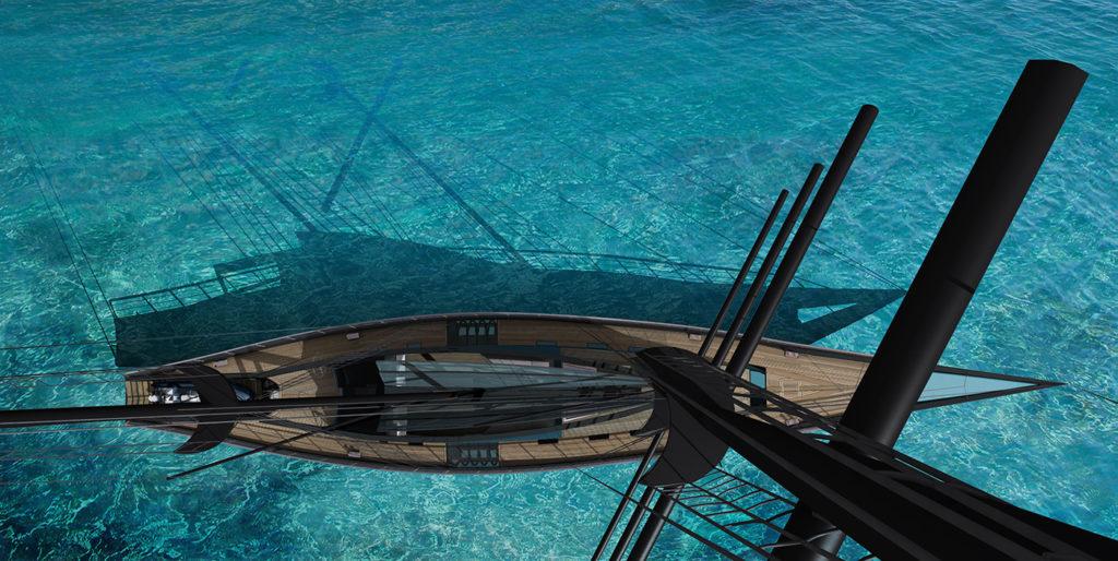 sea 7 design,tropical sailing yacht, aerial view
