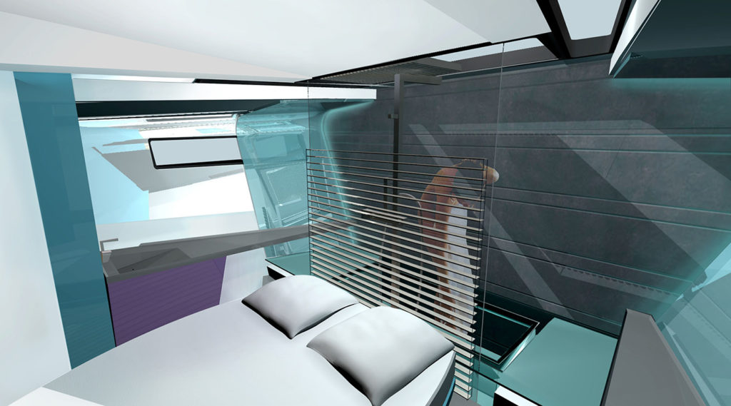 sea 7 design, tropical yacht owners suite interior