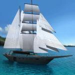 sea 7 design, tropikalny jacht żaglowy, widok z pełnym ożaglowaniem