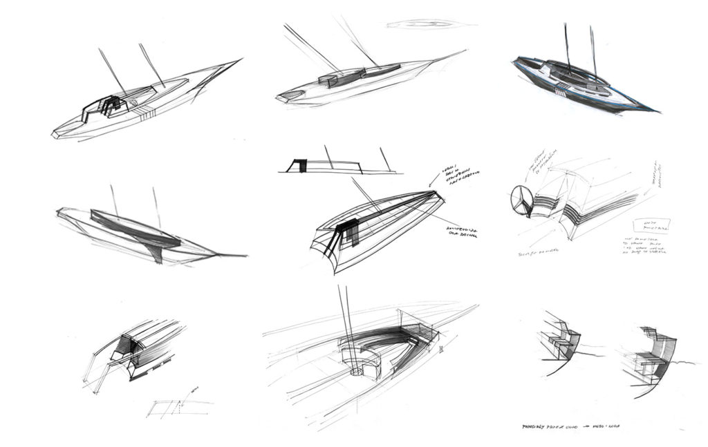 sea 7 design, tropical yacht, sketches of the silhouette