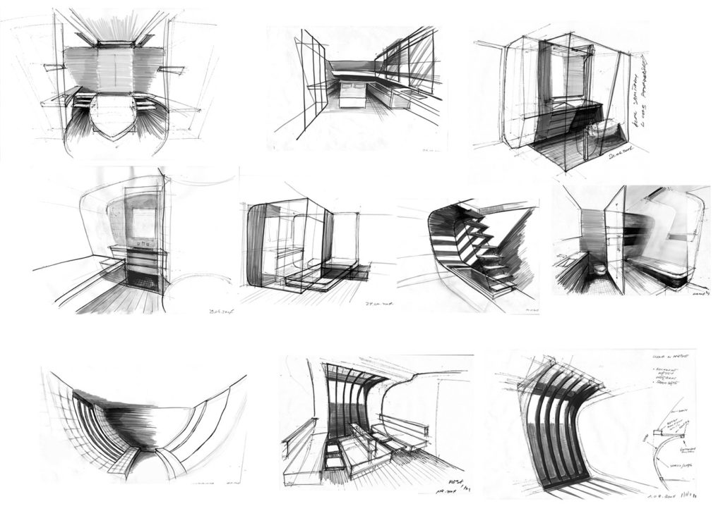 sea 7 design, tropical yacht, sketches of the interior