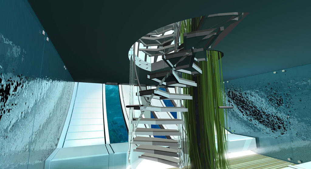 sea 7 design, tropical yacht, underwater salon with a spiral stairs
