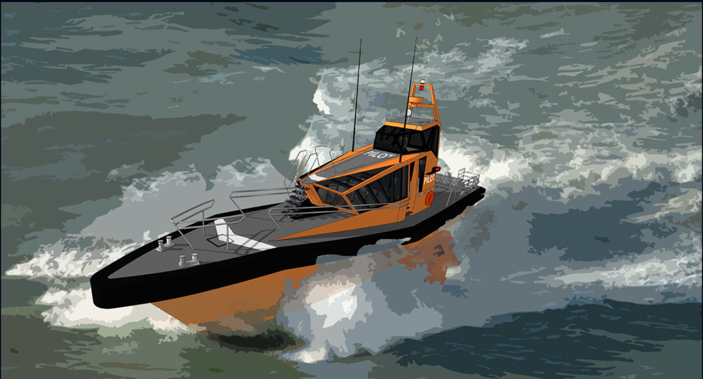 sea 7 design, port pilot vessel, silhouette, ship on waves going at high speed